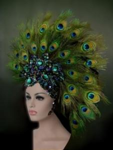 Evia Peacock Feather Cabaret Dancer Samba Showgirl Dancers