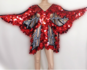 M010RED Sequin Butterfly Dress