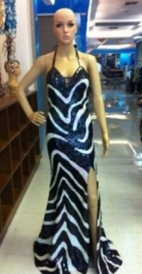 G021 Striped Sequin Gown