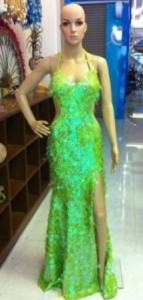 G025 Neon Sequin Gown