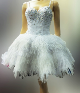 M057 Ostrich Feather Dress