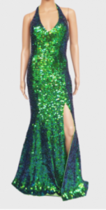 G027E Fluorescent Neon Sequin Gown XS-XL