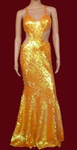 G027D Fluorescent Neon Sequin Gown XS-XL