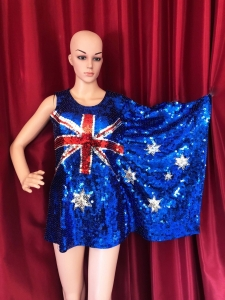 M061 UK Flag and USA Flag Sequin Dress