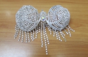 J074 Burlesque Vegas  Belly Crystal Silver Showgirl Bra