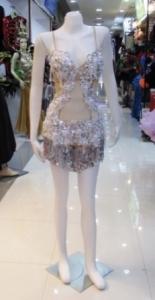 L031 Christina Crystal Sequin Nude Showgirl Leotard Showgirl Bodysuit