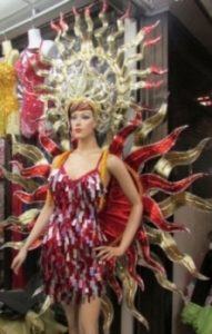 C062 Red Fire Star Sun Goddess Showgirl BackpackCostume Set
