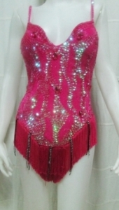 M077 Sequin Beaded Bodysuit Leotard size M-L