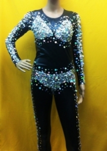 L030 Black Gold Catsuit Showgirl Bodysuit