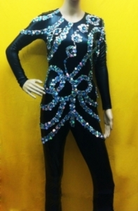 L029 Black Gold Catsuit Showgirl Bodysuit
