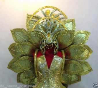 B040C Lotus Magnolia Flower Headdress Wings Backpiece