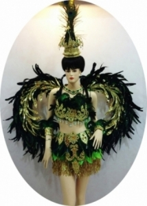 C068 feather Peacock Wings Backpiece Costume set