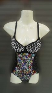 M085 Gems Punk Rock Showgirl Bodysuit Showgirl Leotard