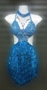 M087 Blue Latin Showgirl Dress