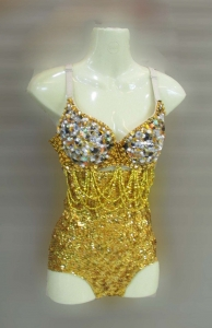 M083 Sexiest Gold Crystal Showgirl Bodysuit Showgirl Leotard