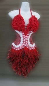 M079 Red Flower Feather Dress