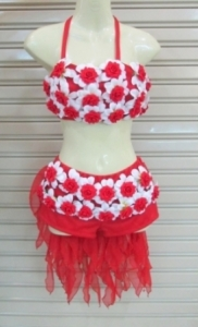 M097 Red Flower Little Burlesque Shorts