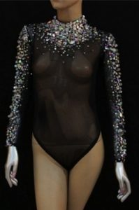 L037 Burlesque Crystal Nude Leotard Bodysuit