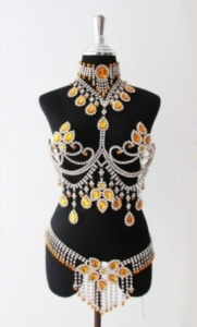 J075 Burlesque Large Crystal Showgirl Bra Belt Skirt Costume Set