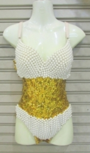 L040 Pearl Princess Burlesque Leotard Bodysuit