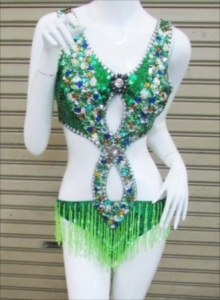L048 Green Crystal Leotard Bodysuit
