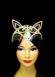H135 Crystal Fox Cat Woman Showgirl Headdress Crown Tiara