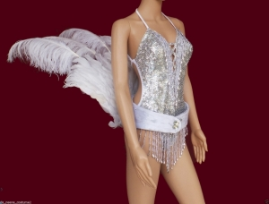 C0277 Showgirl Bird Tail Ostrich Belt Sequin Costume Set
