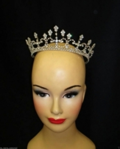 HQC4 little Princess Crystal Showgirl Headdress Crown Tiara