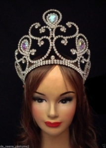 HQC9 Miss Universe World Crystal Showgirl Headdress Crown
