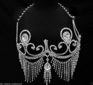Showgirl Bra2 Chain Nipple Pasties Crystal Flower Showgirl Bra