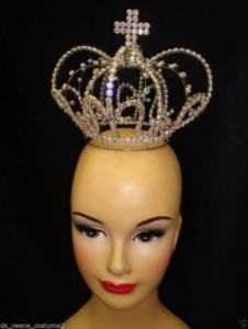 HQC16 Miss Universe World Crystal Cross Showgirl Headdress Crown