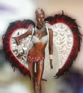 C085 Red Heart Carnival Brazilian Rio Carnival Samba Dance Costume  Parade Angel Wings Costume Set