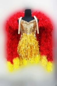 B046 Dancing Feather Boa Vegas Backpiece