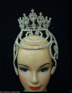 HQC12  America Princess Crystal Showgirl Headdress Crown