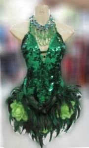 M076 Feather Flower Green Showgirl Dress