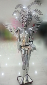 H141C The Terminator Robotic Killer Angel Wings Showgirl Headdress Costume Set