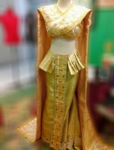 G045T Gold Thai Asian Princess Queen Showgirl Dress Gown