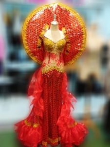 G045F Fire Sun Princess Showgirl Dress Costume Set