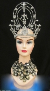 HQC24 Miss Universe Gargantuan America Princess Crystal Showgirl Headdress Crown