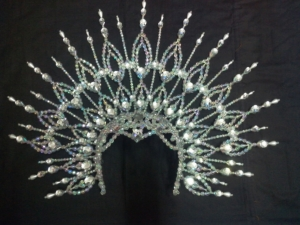 H020A Queen Crown Crystal Showgirl Headdress
