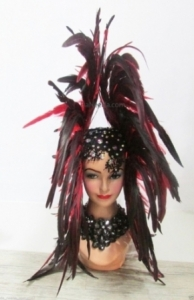 H204 Queen of Fire Feather Crystal Showgirl Headdress