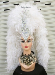 H200 White Thunderbolt Queen Crystal Feather  Showgirl Headdress
