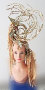 H177 Gold Tree Burlesque Crystal Showgirl Headdress