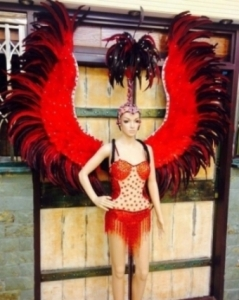C0105 Feather Red Angel Showgirl Headdress Angel Wings