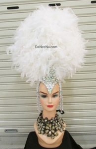 H195 White Angel Crystal feather Showgirl Headdress