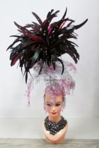 H206 Queen of Leaf Feather Crystal  Showgirl Headdress