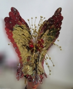 H205 Queen of Butterfly Crystal  Showgirl Headdress