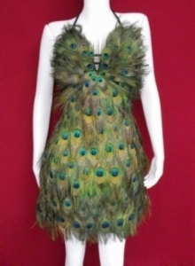 M018 Peacock Feather Showgirl Dress