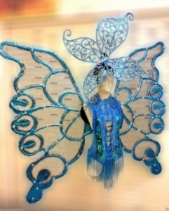 C525 Grand Blue Butterfly Princess Showgirl Headdress Angel Wings Costume Set