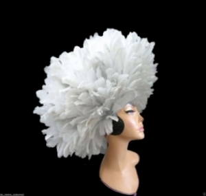 H195C White Feather Wig Showgirl Headdress